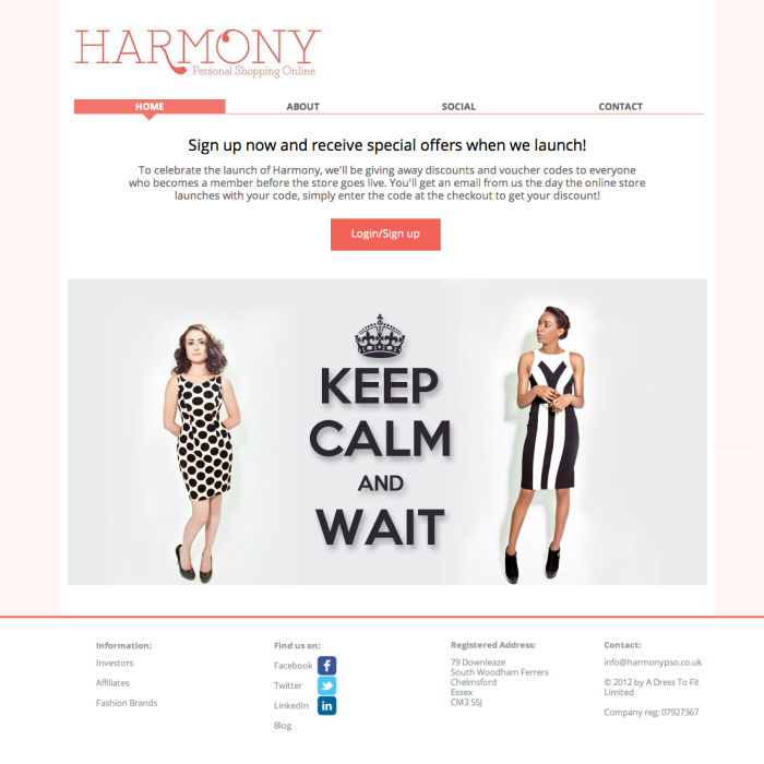 Harmony pre-launch website